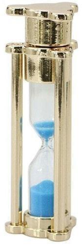 Подарочная металлическая флешка. Песочные часы с синим песком. Цвет золото (фото)