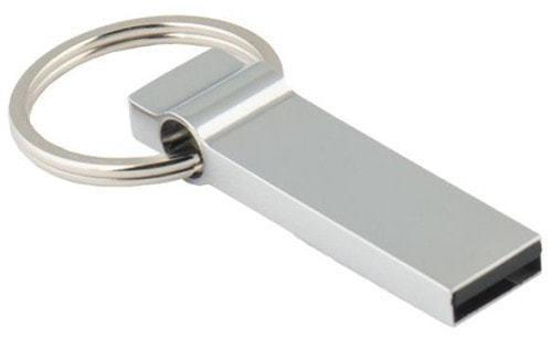 Подарочная металлическая флешка. С кольцом для ключей
