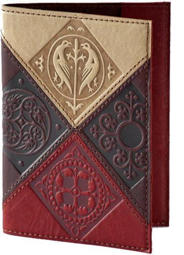 Кожаная обложка на паспорт. Средневековый   Коричневый (фото)