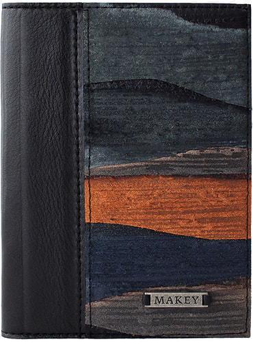 Кожаная обложка на паспорт. Фьёрды   Чёрный (фото)