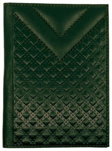 Кожаная обложка на паспорт. CITY   Зеленый