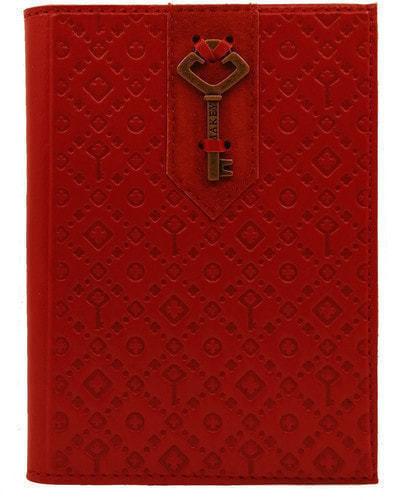 Кожаная обложка на паспорт. Ключ | Красный
