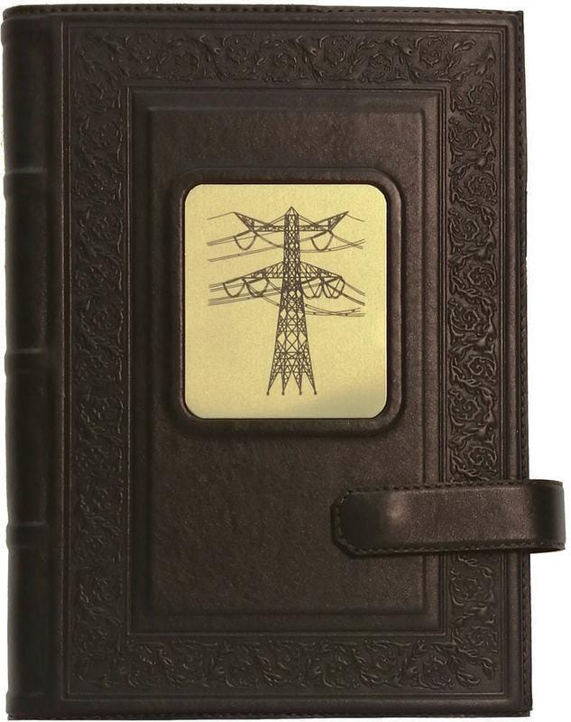 Подарочный ежедневник в кожаном переплете (А5). Энергетику | Коричневый (фото)