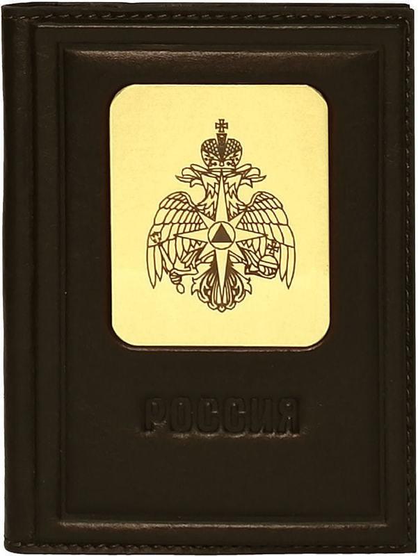 Кожаная обложка для автодокументов. Герб МЧС   Коричневый (фото)