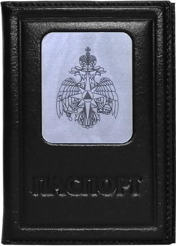 Кожаная обложка на паспорт. Герб МЧС | Чёрный (фото)