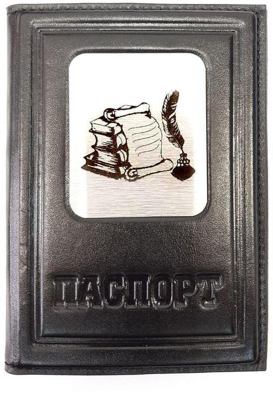 Кожаная обложка на паспорт. Учителю  Чёрный (фото)