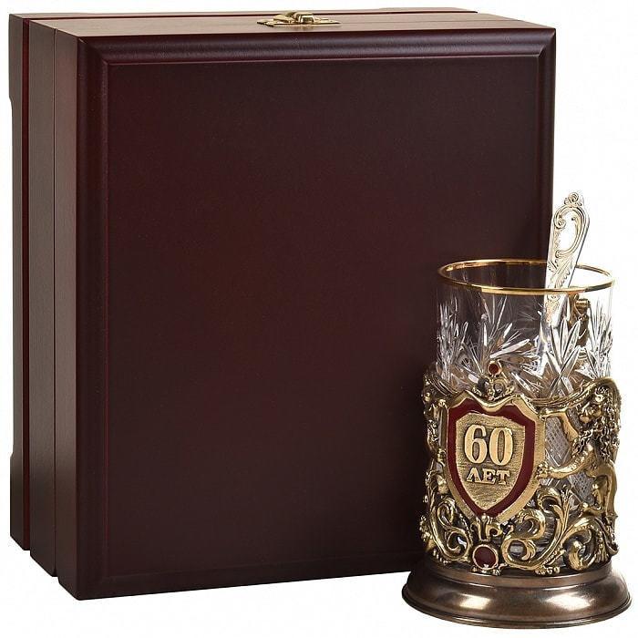 Подарочный набор c подстаканником в деревянной шкатулке (3 предмета). Юбилей 60 лет (фото)