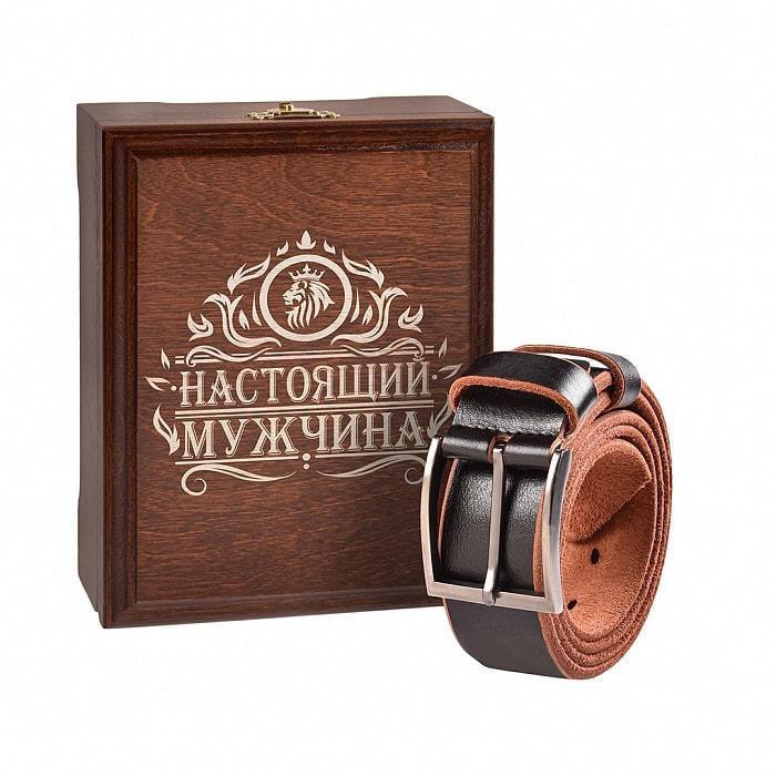 Кожаный ремень в деревянной шкатулке. Настоящий мужчина (цвет черно-коричневый) (фото)