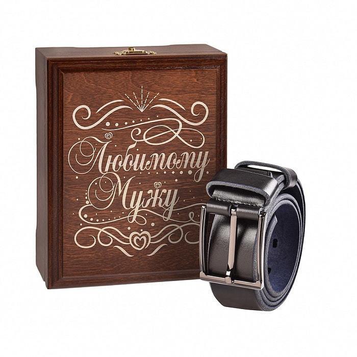 Кожаный ремень в деревянной шкатулке. Любимому мужу (цвет черно-синий) (фото)