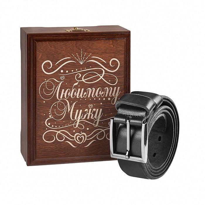 Кожаный ремень в деревянной шкатулке. Любимому мужу (цвет черно-серый) (фото)
