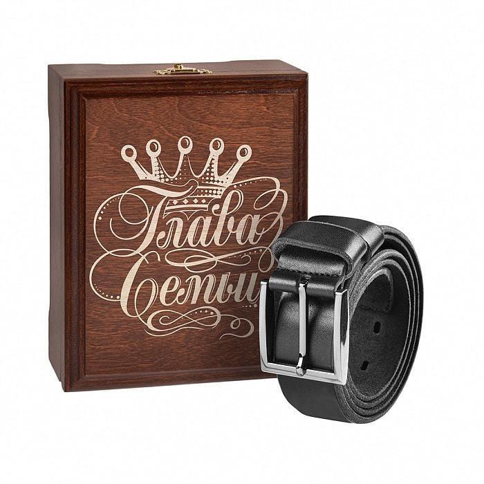 Кожаный ремень в деревянной шкатулке. Глава семьи (цвет черно-серый) (фото)