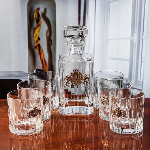 Подарочный набор для виски в деревянной шкатулке (7 предметов). С Юбилеем 80 лет (фото)