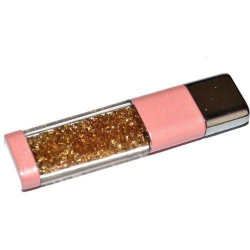 Ювелирная флешка. Брелок с кристаллами SWAROVSKI. Цвет розовый (фото)