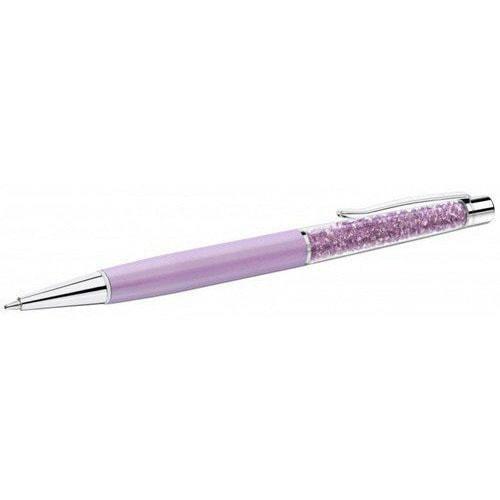 Ручка с флешкой шариковая с кристаллами SWAROVSKI в футляре. Цвет сиреневый (фото)