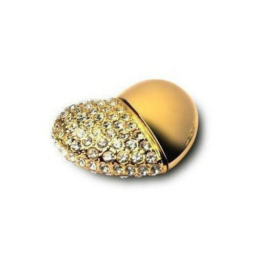 Подарочная металлическая флешка. Сердце (цвет - золото) (фото)