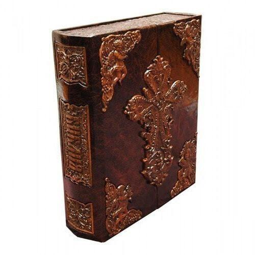 Подарочная книга в кожаном переплете. Библия (в коробе иконостас-складень) (фото)