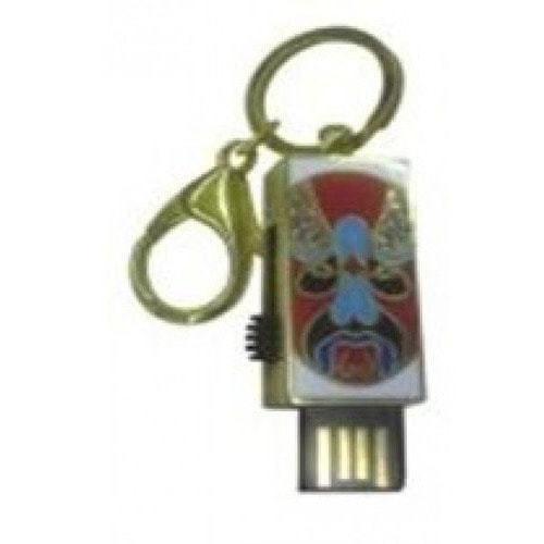 Подарочная металлическая флешка. Брелок Маска (красный с голубым)