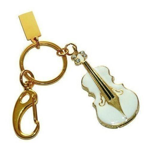 Подарочная металлическая флешка-брелок. Скрипка. Цвет белый (фото)