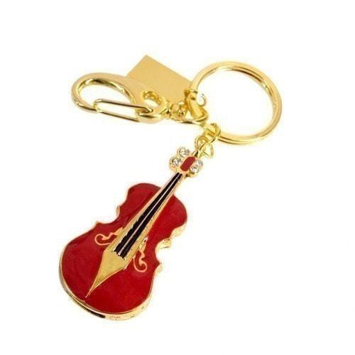 Подарочная металлическая флешка-брелок. Скрипка. Цвет красный (фото)