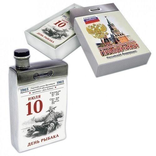 """Подарочный набор с фарфоровым штофом """"Календарь рыбака"""" (фото)"""