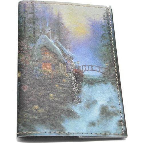 Кожаная обложка на паспорт. Домик у водопада (фото)