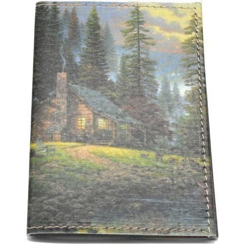 Кожаная обложка на паспорт. Домик в лесу (фото)