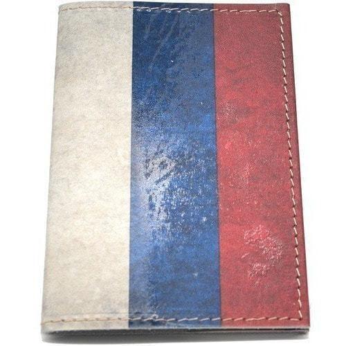 Кожаная обложка на паспорт. Флаг России (фото)