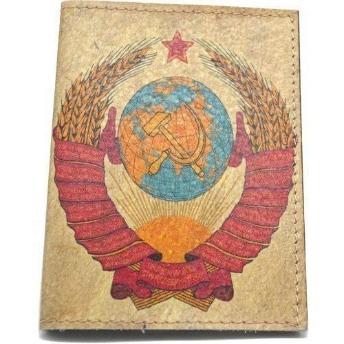 Кожаная обложка на паспорт. Герб СССР (фото)