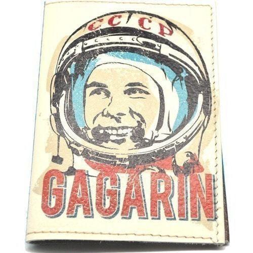 Кожаная обложка на паспорт. Юрий Гагарин (фото)