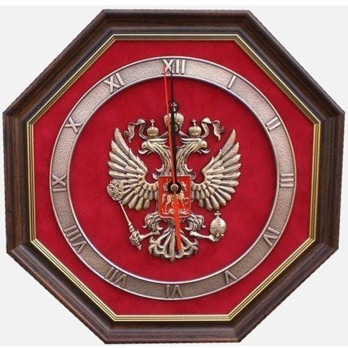 """Настенные часы """"Герб России"""" (34 х 34 см)"""