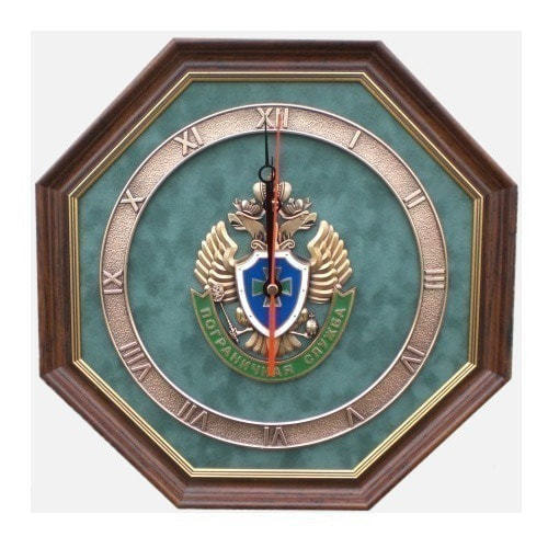 """Настенные часы """"Эмблема Пограничной службы России"""" (34 х 34 см)"""