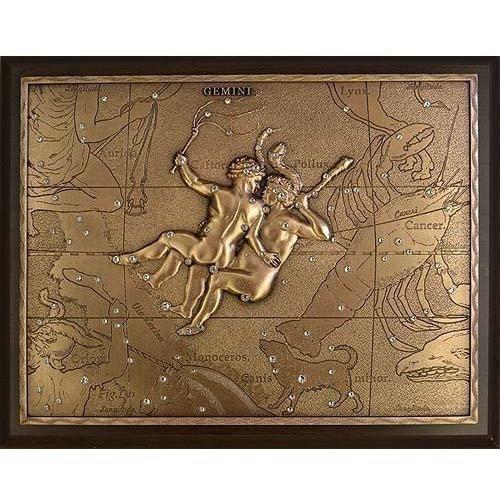 Панно из металла на стену. Знаки Зодиака. Близнецы (25 х 20 см) (фото)