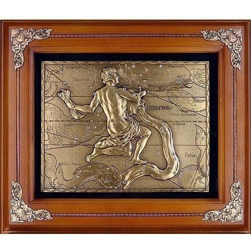 Панно из металла на стену. Знаки Зодиака. Водолей (34 x 29 см) (фото)