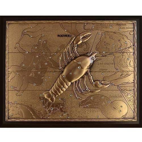 Панно из металла на стену. Знаки Зодиака. Рак (25 х 20 см) (фото)