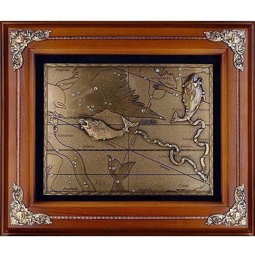Панно из металла на стену. Знаки Зодиака. Рыбы (34 x 29 см) (фото)