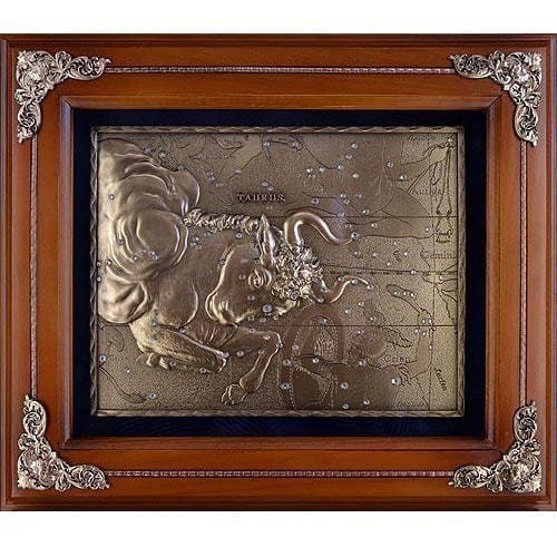 Панно из металла на стену. Знаки Зодиака. Телец (34 x 29 см) (фото)
