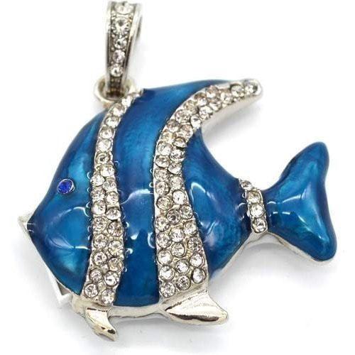 Ювелирная флешка-кулон. Рыбка в стразах (цвет синий) (фото)