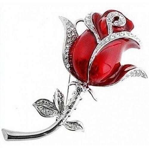 Ювелирная флешка-брошь. Роза со стразами на стебле (цвет красный) (фото)
