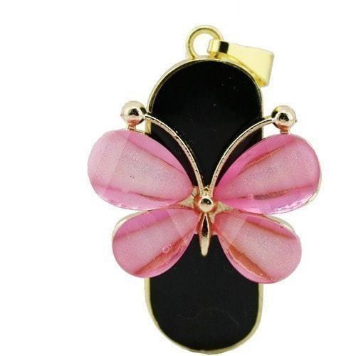 Ювелирная флешка-брелок. Бабочка (цвет розовый) (фото)