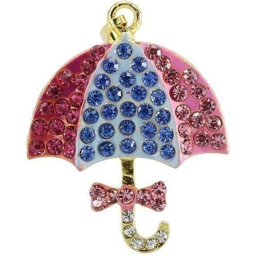 Ювелирная флешка-кулон. Зонтик в стразах (фото)