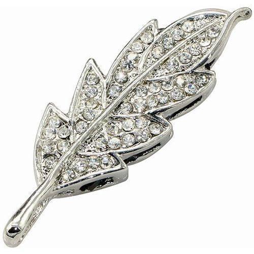 Ювелирная флешка. Листок в стразах (цвет серебро) (фото)