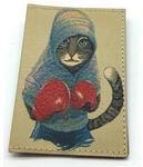 Кожаная обложка на паспорт. Кот-боксер