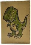 Кожаная обложка на паспорт. Динозаврик