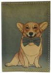 Кожаная обложка на паспорт. Собака с бантом