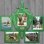 """Подарочная деревянная фоторамка """"Пограничные войска"""" под пять фотографий"""