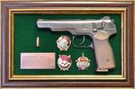"""Панно с пистолетом """"Стечкин"""" с наградами СССР в подарочной коробке"""