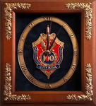 """Настенные часы """"100 лет ФСБ"""" в деревянной раме (29 х 34 см)"""