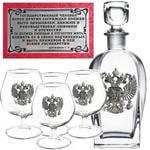 Подарочный набор c 4-мя бокалами для коньяка и стеклянным штофом. Государственный человек