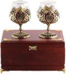 Подарочный набор c 2-мя бокалами для коньяка в деревянной шкатулке. Юбилей 55 лет и Настоящий мужчина
