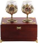 Подарочный набор c 2-мя бокалами для коньяка в деревянной шкатулке. Юбилей 50 лет и Настоящий мужчина